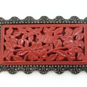 Carved and Pierced Faux Cinnabar Pin